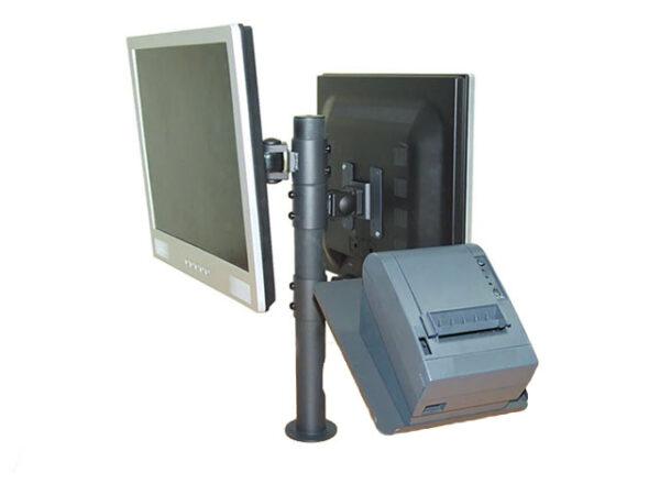 Монтажна стойка за POS системи, предназначена за монтиране на два монитора и кухненски нефискален принтер