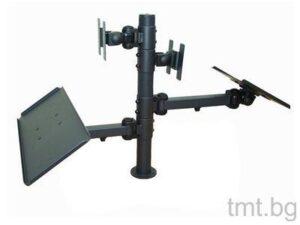 Стойка за два монитора с въртящи се рамене и поставки за клавиатура и кухненски/нефискален принтер